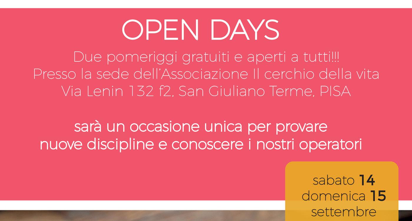 Open Days al Cerchio della Vita - Sabato 14 e Domenica 15 Settembre