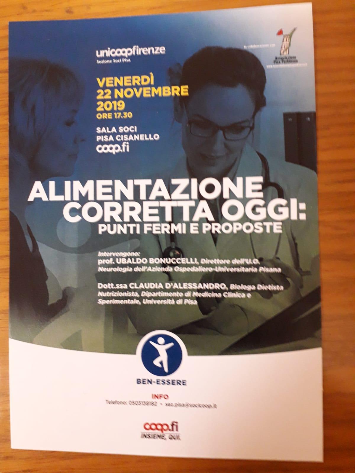 Alimentazione corretta oggi: Punti fermi e proposte_venerdì 22 novembre 2019 alla COOP di Cisanello_Pisa