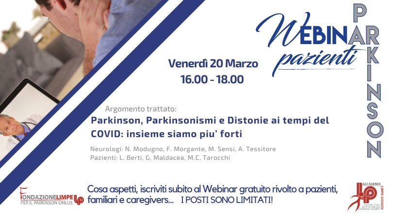 Parkinson, Parkinsonismi, Distonie ai tempi del COVID: insieme siamo piu' forti