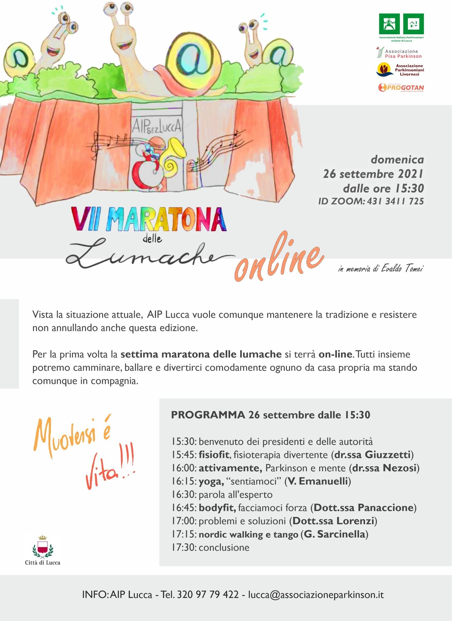 Maratona delle Lumache 2021 online_AIP Parkinson Lucca_26 settembre